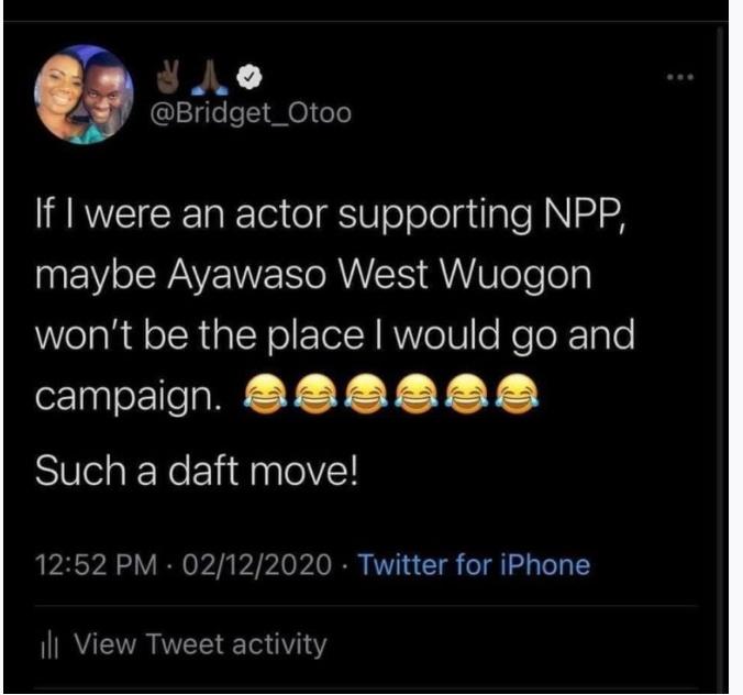 actors-campaigning-against-john-dumelo-are-'daft'-–-bridget-otoo