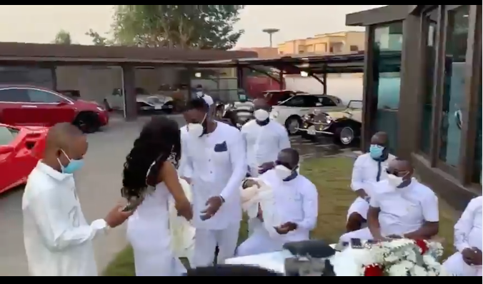 watch:-kennedy-osei-and-tracy-present-their-twin-babies-to-his-father-on-his-birthday