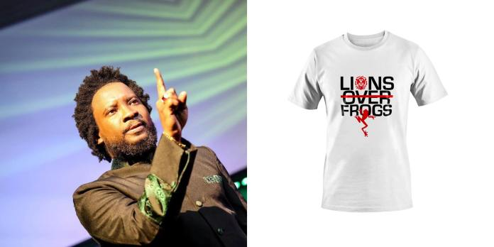 sonnie-badu-launches-$100-'lion-over-frogs'-t-shirts-to-raise-charity-funds
